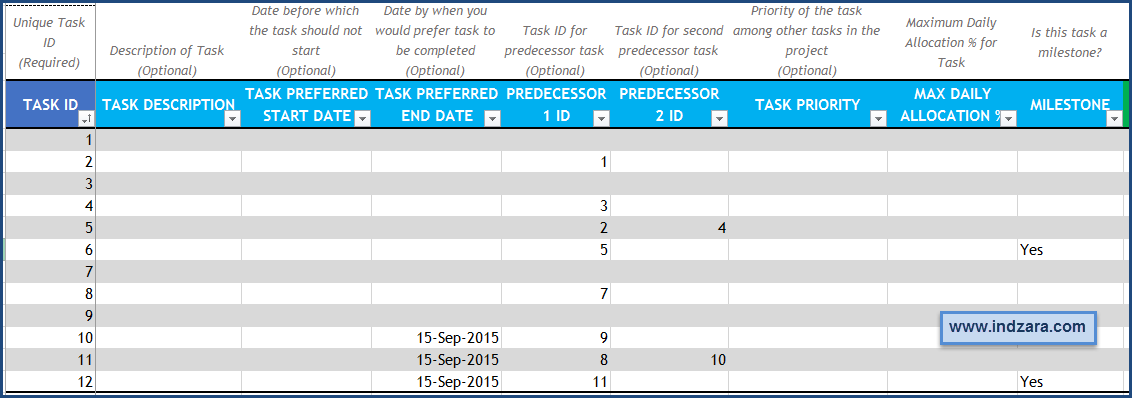 Project Planner (Advanced) Excel Template – Tasks – Optional Fields