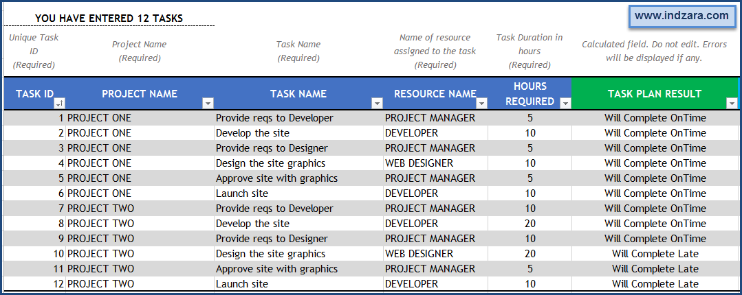 Project Planner (Advanced) Excel Template – Tasks