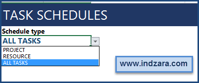 Project Planner (Advanced) Excel Template – Summary - Task Schedule Options