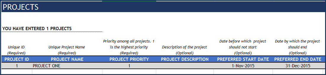 Project Planner Advanced Excel Template - Projects