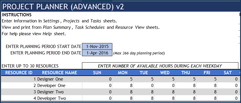 Project Planner Advanced Excel Template - Settings