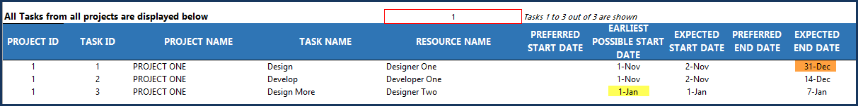 Project Planner Advanced Excel Template - Tasks