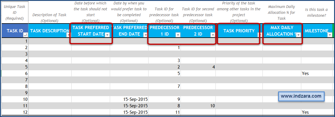 Project Planner Advanced Excel Template - Tasks- Optional