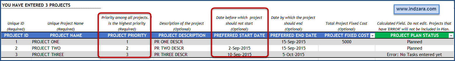 Project Planner Advanced Excel Template - Projects - Optional