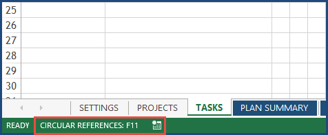Excel - Circular Reference Message