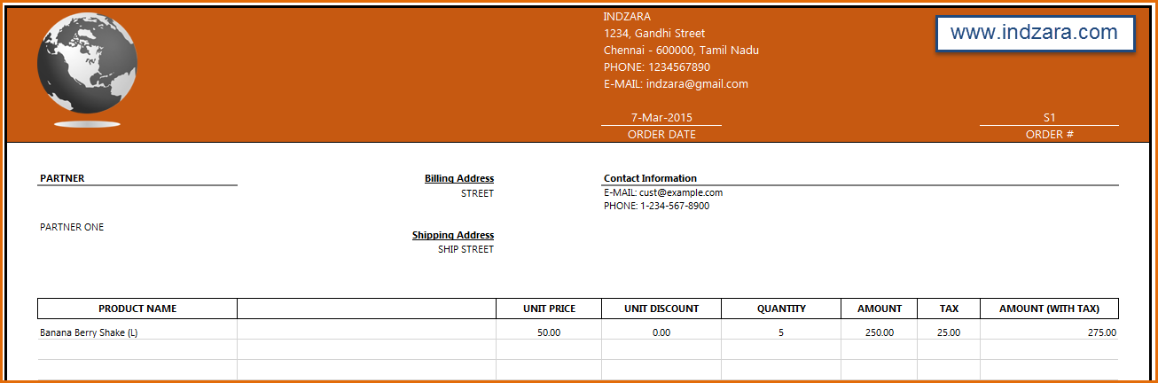 Manufacturing Inventory and Sales Manager - Excel Template - Invoice