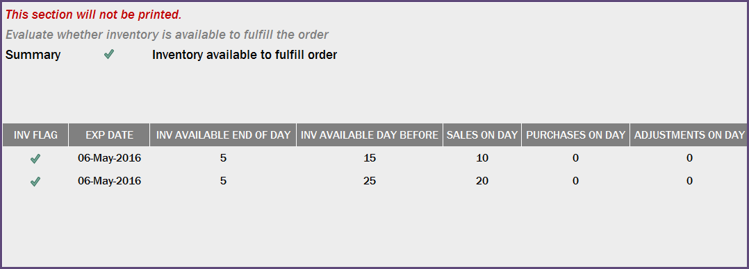 Inventory Availability - Yes