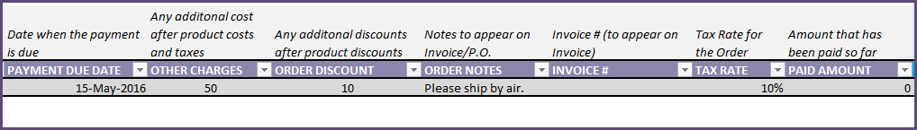 Purchase Order - Additional Fields