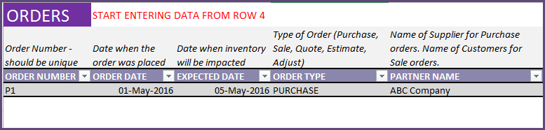 Entering a purchase order