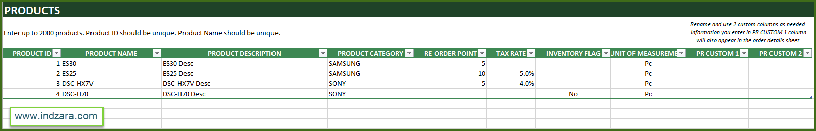 Retail Inventory and Sales Manager - Excel Template - Products