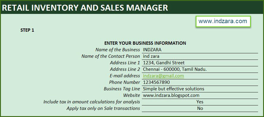 Retail Inventory and Sales Manager - Excel Template - Business Information