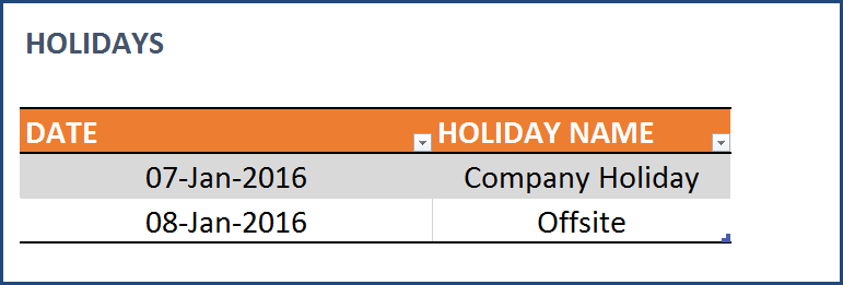 Task Manager (Advanced) Excel Template - Holidays