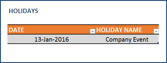 Task Manager (Advanced) - Excel Template - Enter Holiday