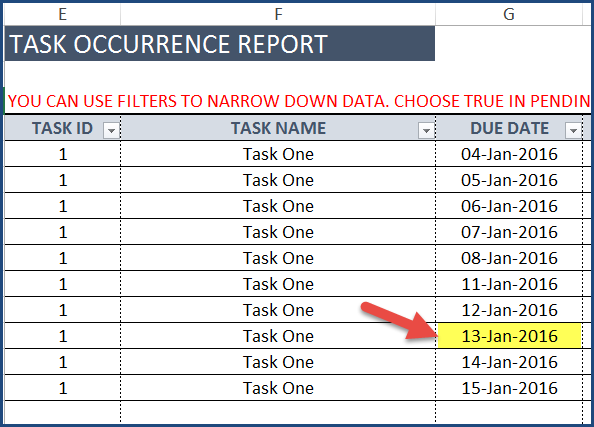 Task Manager (Advanced) - Excel Template - Task Occurrence Report (before)