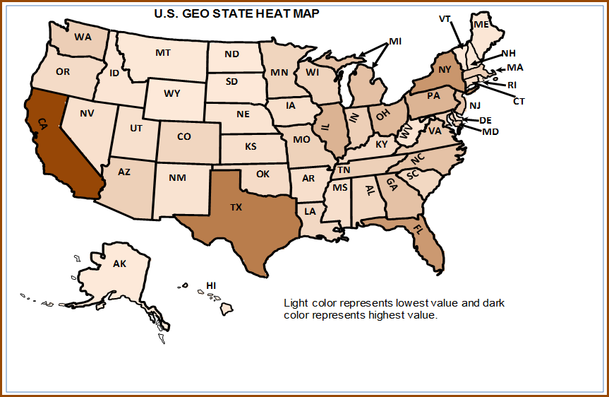 U.S. State Heat Map with 2 Color Scale