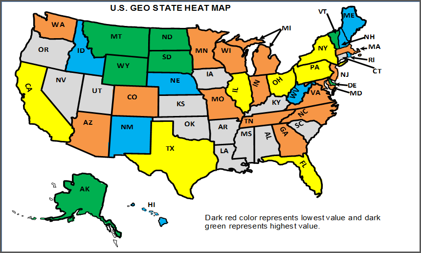 U.S. State Heat Map - Updated Map