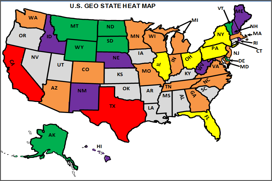 U.S. State Heat Map - Updated Map with Purple