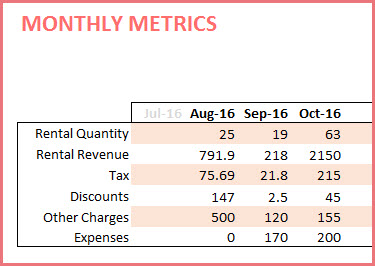 Monthly Metrics in table format - Rental Quantity, Revenue, Charges, Discounts and Expenses