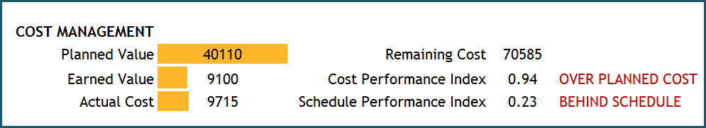 Project Manager Excel Template - Cost Management