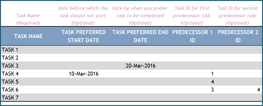 Project Manager Excel Template – Tasks - Optional Fields