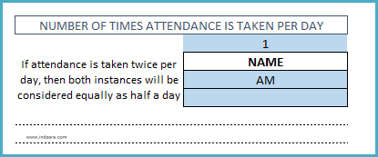 Student Attendance Register Template - Number of times Attendance is taken