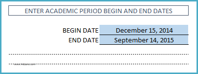Student Attendance Register Template - Enter Academic Period Dates