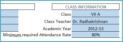 Student Attendance Register Template - Enter Class Information