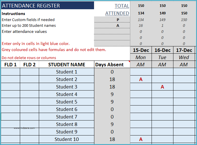Student Attendance Register Format in Excel