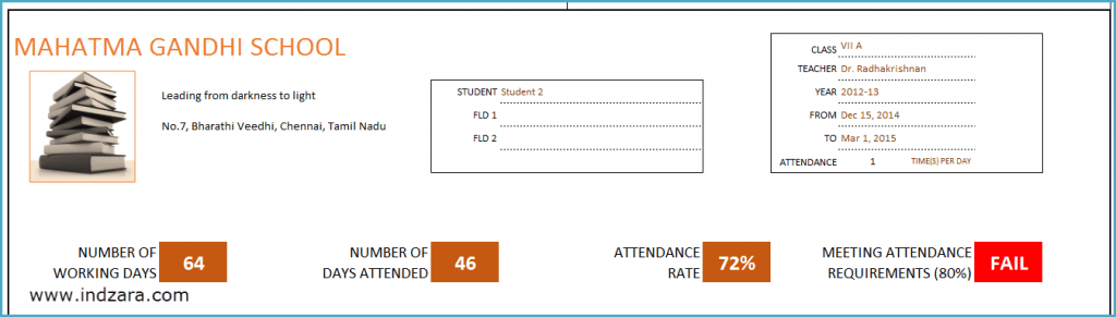 Printable Student Attendance Report - Header