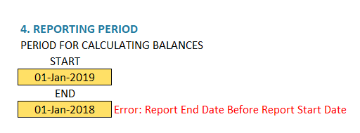 Enter Reporting Period - Error - End Before Start