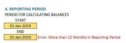 Enter Reporting Period - Error - More than 12 months