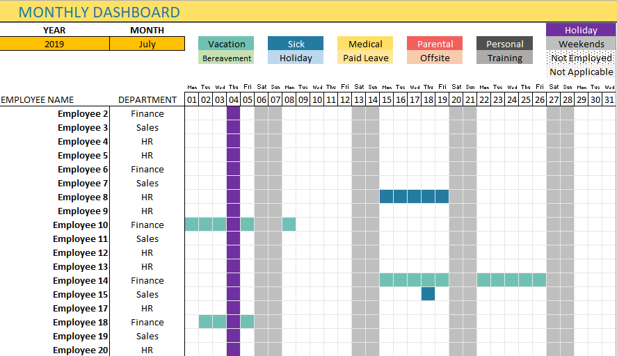 Monthly Team Dashboard Page 1 with Calendar view