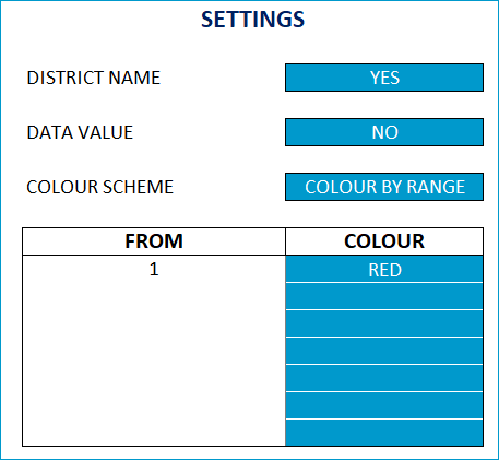 Single Color Map - Settings - Color by Range