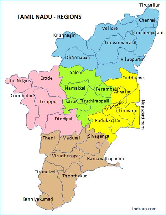 Regions by Color - Tamil Nadu Regions