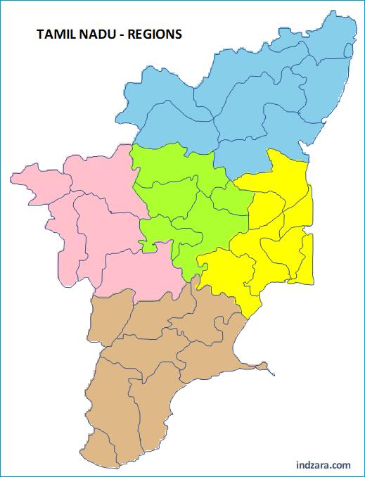 Regions by Color - Tamil Nadu Regions - No names