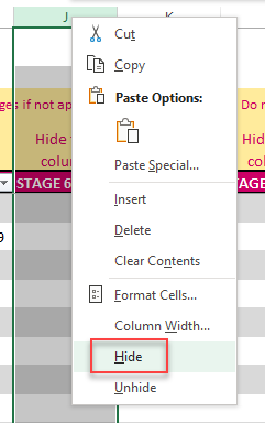 Right click column and choose Hide