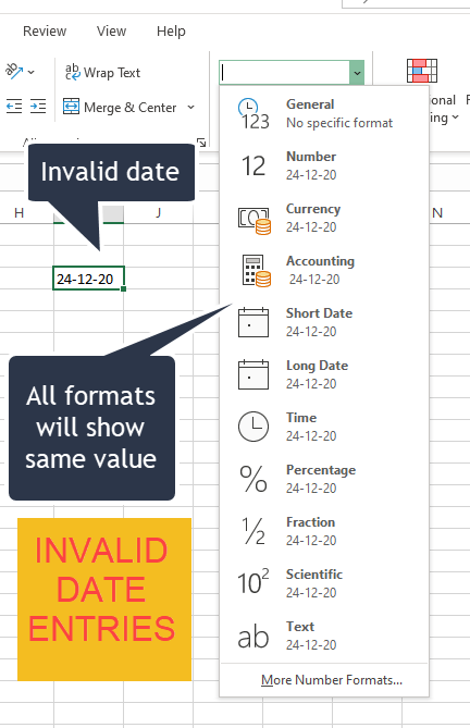 Invalid Date Entries