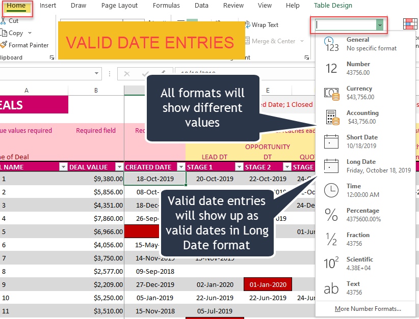 Valid Date Entries