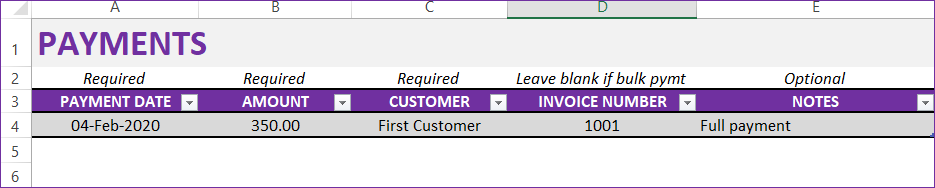 Full payment example