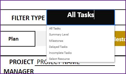 Gantt Chart Maker – Google Sheet Template – Filter Types