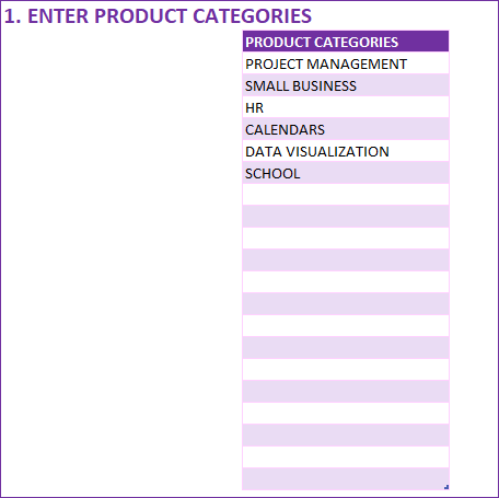 Enter Product Categories