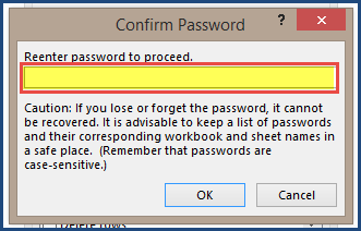 Protecting Sheets - Excel Templates - Confirm Password