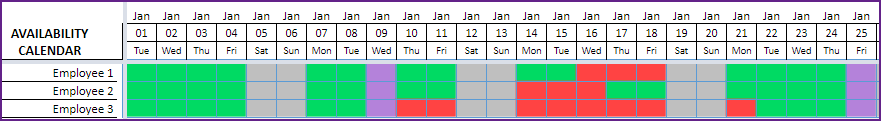 Availability Calendar shows each employees availability and vacation