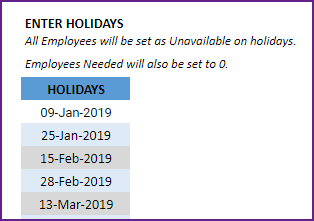 Enter list of Holidays in company