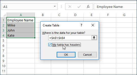 Step 2 - Convert to table