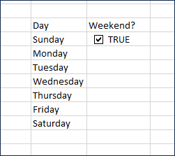 Weekday selection column