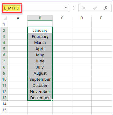 Create a list of Month names