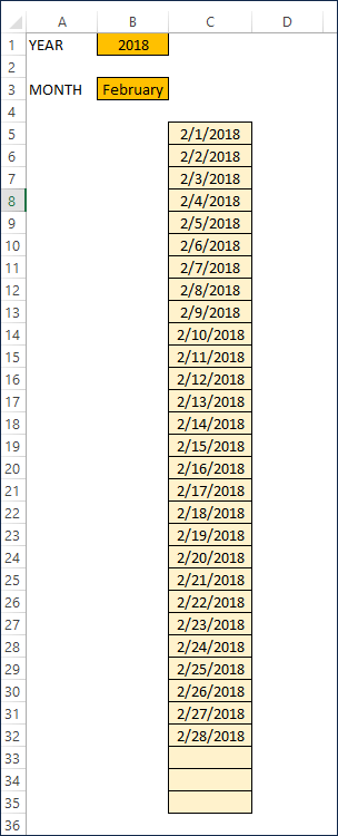 Final Result Dates for Chosen Month