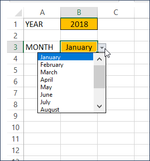 Drop down list for Month Input