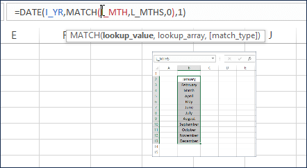 MATCH function to find the Month Number